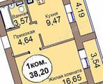 1-комнатная квартира, 38 кв.м., 3/12 этаж, новостройка